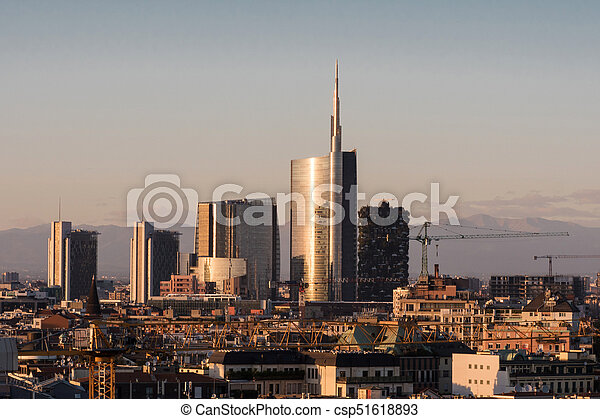 Skyline with the new skyscrapers Milan Italy
