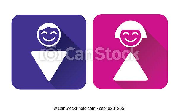 skylt., kvinna, wc, man - csp19281265