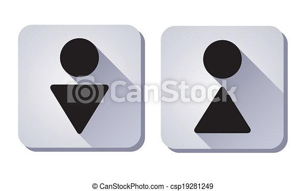 skylt., kvinna, wc, man - csp19281249