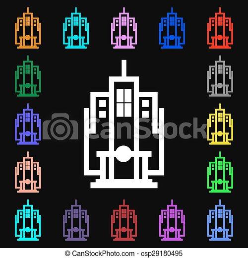 skyscraper icon sign. Lots of colorful symbols for your design. Vector - csp29180495