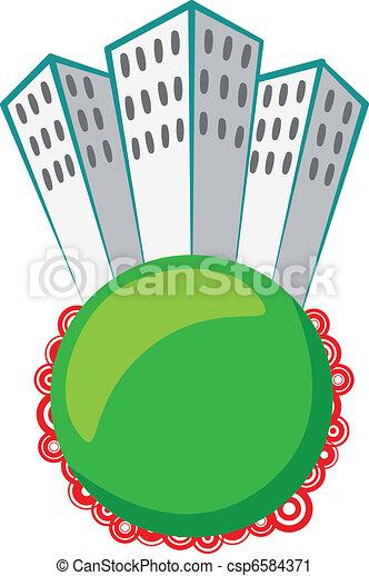 skyscraper on green sphere - csp6584371