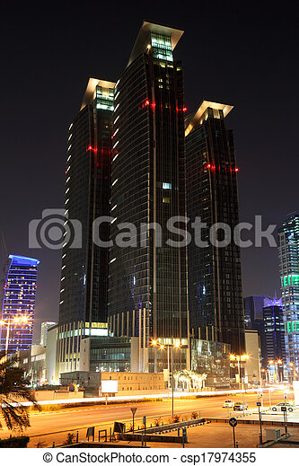 Skyscrapers downtown in Doha at night. Qatar, Middle East - csp17974355