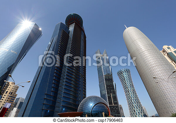 Skyscrapers downtown in Doha, Qatar, Middle East - csp17906463