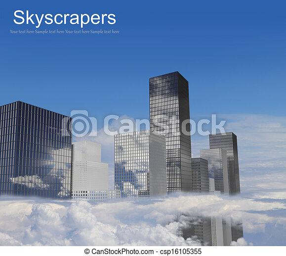 Skyscrapers in the clouds - csp16105355