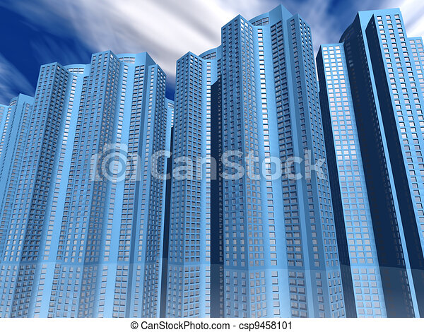 skyscrapers of city with reflections on a background cloudy sky - csp9458101
