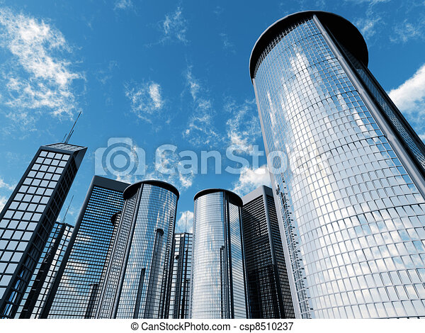 skyscrapers of city with reflections on a background cloudy sky - csp8510237