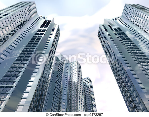 skyscrapers of city with reflections on a background cloudy sky - csp9473297