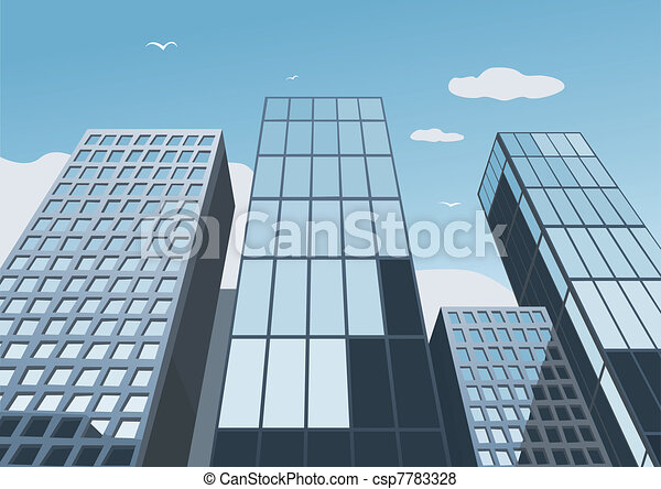 Skyscrapers on a background of the blue sky - csp7783328