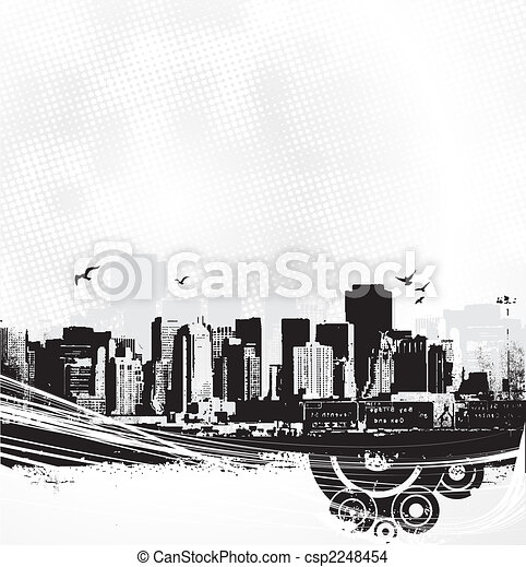 Skyscrapers on white background. Vector art - csp2248454
