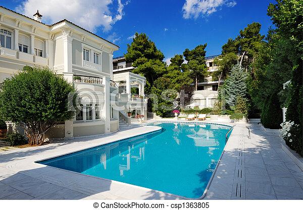 slå samman, lyxvara, simning, villa - csp1363805