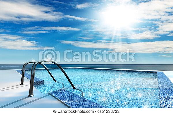 slå samman, simning - csp1238733