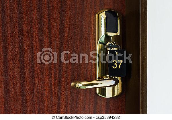 Slaapkamer, open, hotel, deur, helft. It., ingang, hotel, deur ...