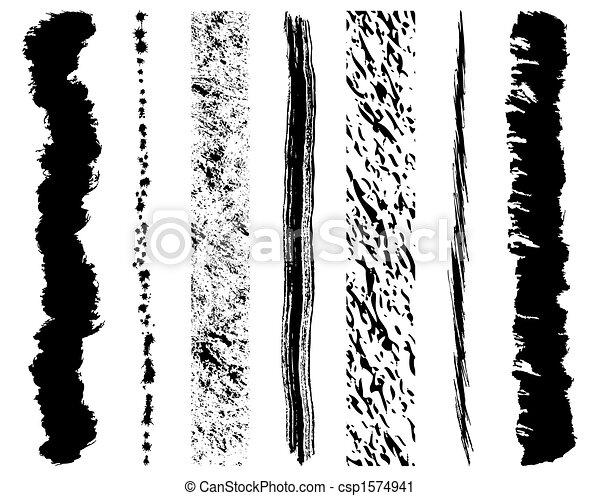 slagen, set, grunge, borstel, inkt - csp1574941
