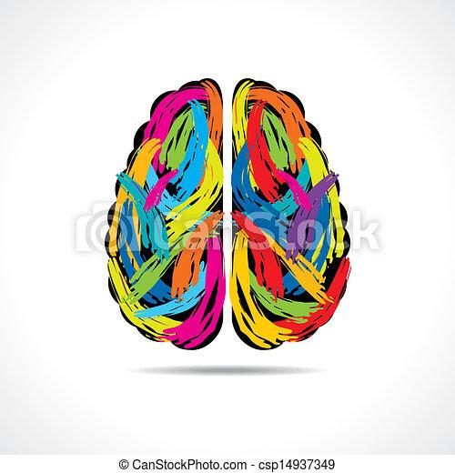 slaglängder, hjärna, skapande, måla - csp14937349