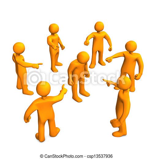 Slander. Orange cartoon characters slanders. 3d ...