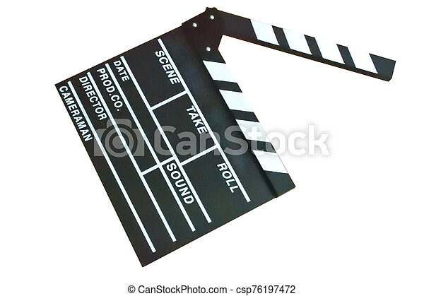 Slate film isolated in white background - csp76197472