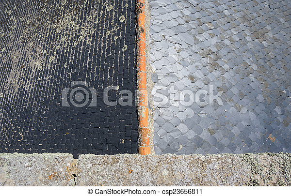 Slate roof, top view - csp23656811