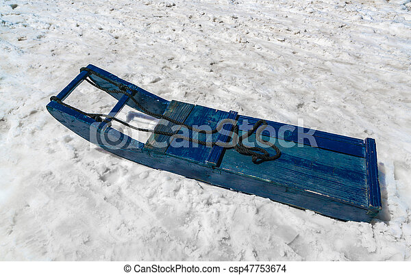 Sled driver carry on snow . - csp47753674