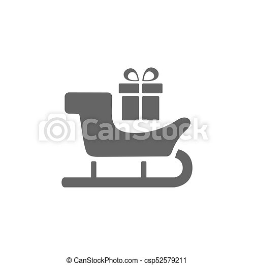 Sled icon with gift on white background - csp52579211