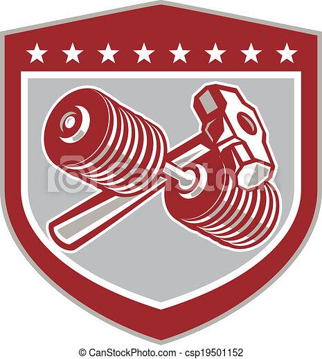 sledgehammer, félcédulás, keresztbe tett, pajzs, retro - csp19501152