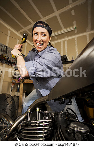 sledghammer, 取得, 女, オートバイ - csp1481677
