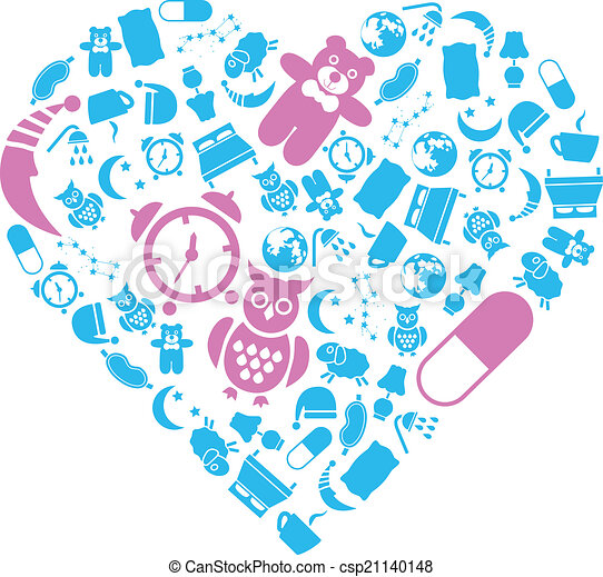 sleep icons in heart - csp21140148