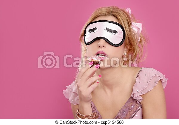 sleep mask blind blonde with sweet temptation pastry - csp5134568