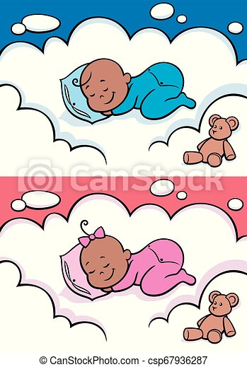 Sleeping Baby Black - csp67936287