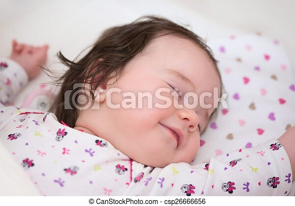 Sleeping Baby Girl Beautiful Sleeping Little Girl With A Slight Smile On His Lips Nice Dreams