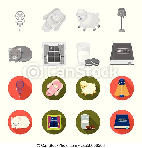 Sleeping cat, night outside the window, milk and biscuits, fairy tales. Rest and sleep set collection icons in monochrome, flat style vector symbol stock illustration web. - csp56656568