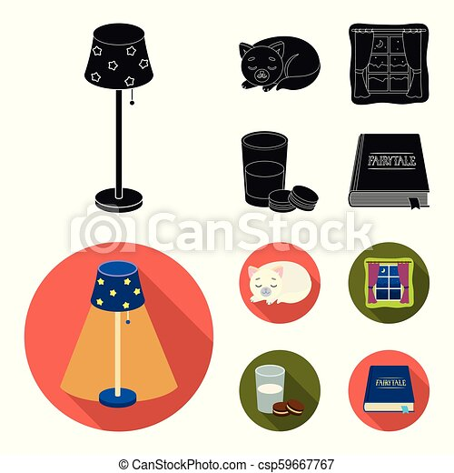 Sleeping cat, night outside the window, milk and biscuits, fairy tales. Rest and sleep set collection icons in black, flat style vector symbol stock illustration web. - csp59667767