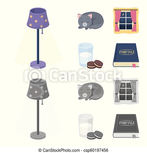 Sleeping cat, night outside the window, milk and biscuits, fairy tales. Rest and sleep set collection icons in cartoon, monochrome style vector symbol stock illustration web. - csp60197456