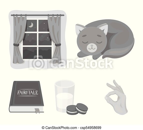 Sleeping cat, night outside the window, milk and biscuits, fairy tales. Rest and sleep set collection icons in monochrome style vector symbol stock illustration web. - csp54958699