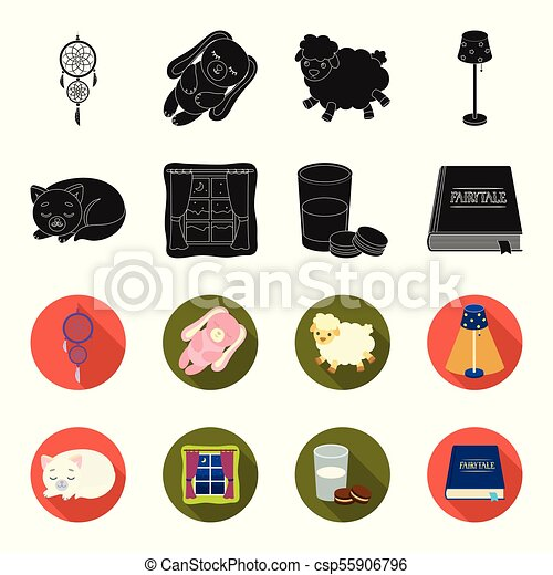 Sleeping cat, night outside the window, milk and biscuits, fairy tales. Rest and sleep set collection icons in black, flet style vector symbol stock illustration web. - csp55906796
