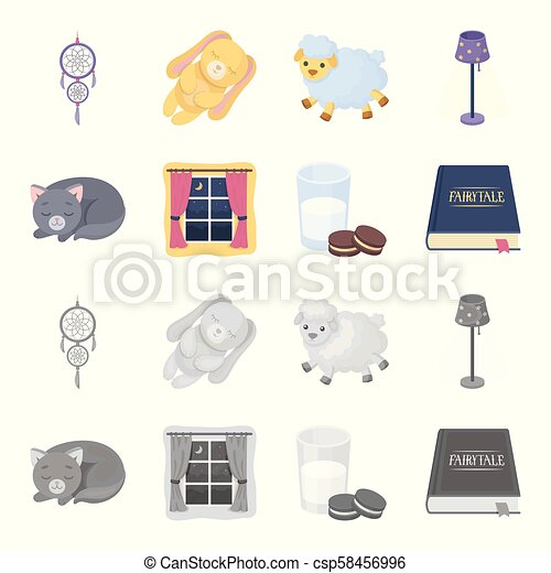 Sleeping cat, night outside the window, milk and biscuits, fairy tales. Rest and sleep set collection icons in cartoon, monochrome style vector symbol stock illustration web. - csp58456996