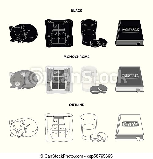 Sleeping cat, night outside the window, milk and biscuits, fairy tales. Rest and sleep set collection icons in black, monochrome, outline style vector symbol stock illustration web. - csp58795695