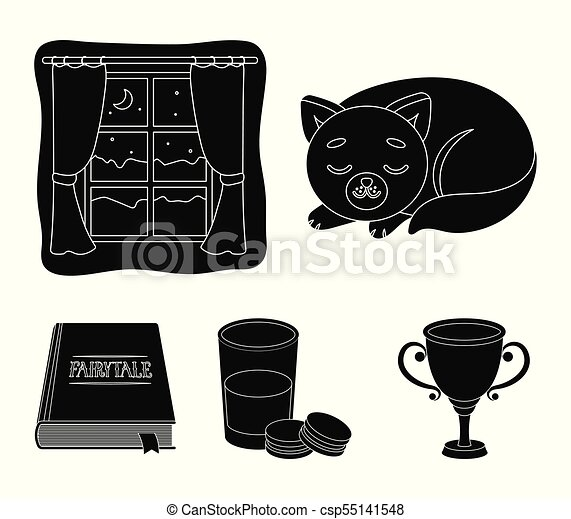 Sleeping cat, night outside the window, milk and biscuits, fairy tales. Rest and sleep set collection icons in black style vector symbol stock illustration web. - csp55141548