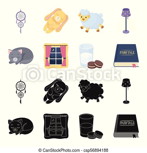 Sleeping cat, night outside the window, milk and biscuits, fairy tales. Rest and sleep set collection icons in black, cartoon style vector symbol stock illustration web. - csp56894188
