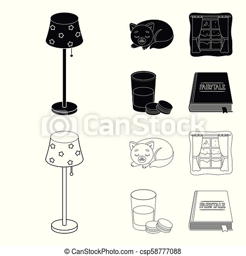 Sleeping cat, night outside the window, milk and biscuits, fairy tales. Rest and sleep set collection icons in black, outline style vector symbol stock illustration web. - csp58777088