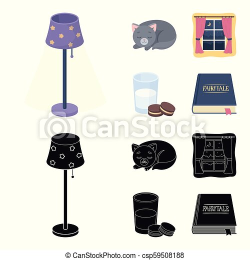 Sleeping cat, night outside the window, milk and biscuits, fairy tales. Rest and sleep set collection icons in cartoon, black style vector symbol stock illustration web. - csp59508188