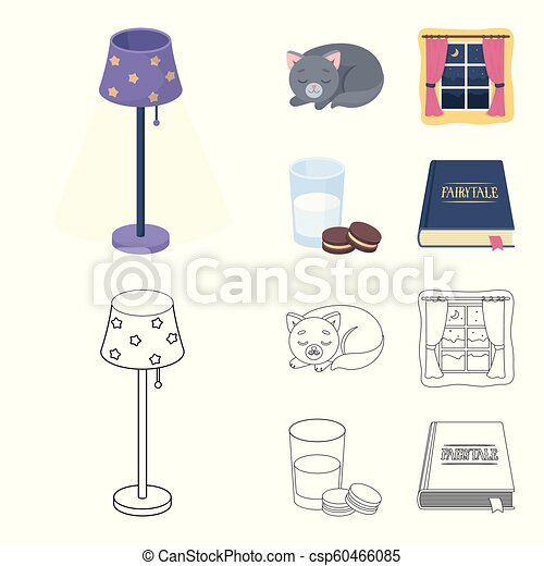 Sleeping cat, night outside the window, milk and biscuits, fairy tales. Rest and sleep set collection icons in cartoon, outline style vector symbol stock illustration web. - csp60466085