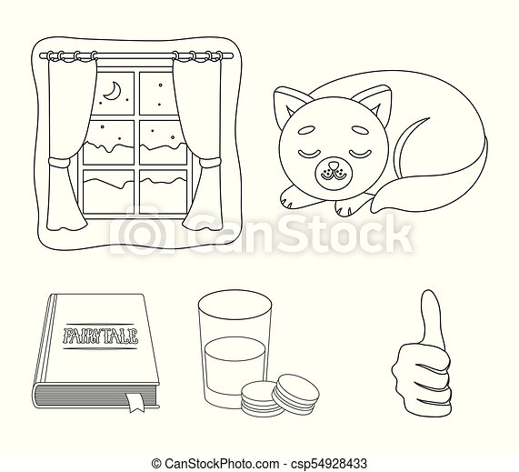 Sleeping cat, night outside the window, milk and biscuits, fairy tales. Rest and sleep set collection icons in outline style vector symbol stock illustration web. - csp54928433