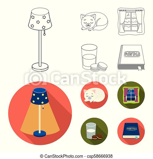 Sleeping cat, night outside the window, milk and biscuits, fairy tales. Rest and sleep set collection icons in outline, flat style vector symbol stock illustration web. - csp58666938