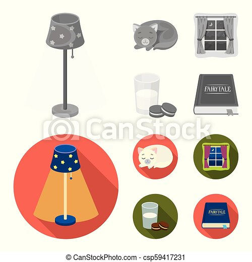 Sleeping cat, night outside the window, milk and biscuits, fairy tales. Rest and sleep set collection icons in monochrome, flat style vector symbol stock illustration web. - csp59417231