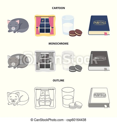 Sleeping cat, night outside the window, milk and biscuits, fairy tales. Rest and sleep set collection icons in cartoon, outline, monochrome style vector symbol stock illustration web. - csp60164438