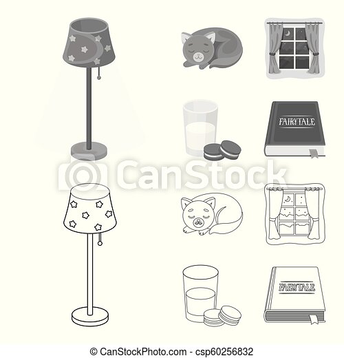 Sleeping cat, night outside the window, milk and biscuits, fairy tales. Rest and sleep set collection icons in outline, monochrome style vector symbol stock illustration web. - csp60256832