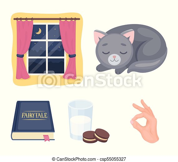 Sleeping cat, night outside the window, milk and biscuits, fairy tales. Rest and sleep set collection icons in cartoon style vector symbol stock illustration web. - csp55055327