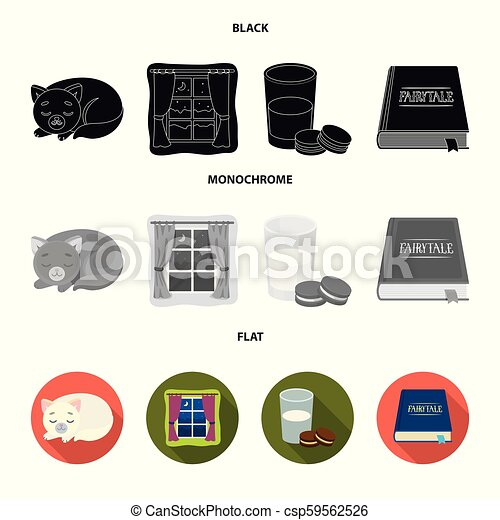Sleeping cat, night outside the window, milk and biscuits, fairy tales. Rest and sleep set collection icons in black, flat, monochrome style vector symbol stock illustration web. - csp59562526
