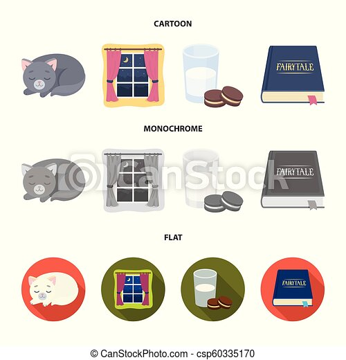 Sleeping cat, night outside the window, milk and biscuits, fairy tales. Rest and sleep set collection icons in cartoon, flat, monochrome style vector symbol stock illustration web. - csp60335170