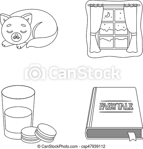 Sleeping cat, night outside the window, milk and biscuits, fairy tales. Rest and sleep set collection icons in outline style vector symbol stock illustration web. - csp47939112